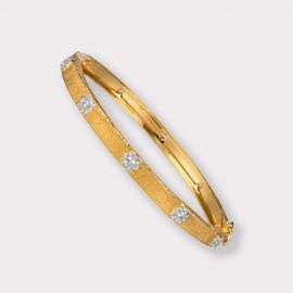 Thin Hinged Gold and CZ Bangle Bracelet