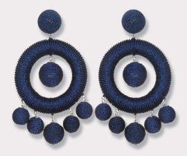 Chandelier Hoop Earrings in Metallic Navy Blue