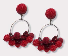 Velvet and Beaded Ball Hoops Earrings