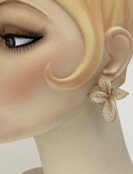 Large CZ Micro Pave Flower Earring