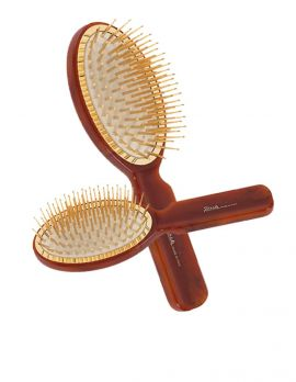Tortoise Hairbrush Oval with Gold Pins