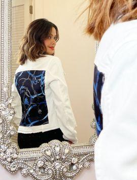 Woman's Denim Jacket Silk Scarf Design